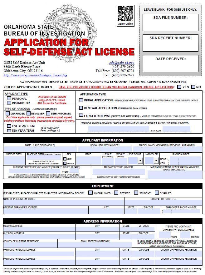 OK SDA Application · Oklahoma SDA Handgun License Application