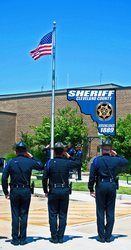 Sheriff Officers Saluting a Flag